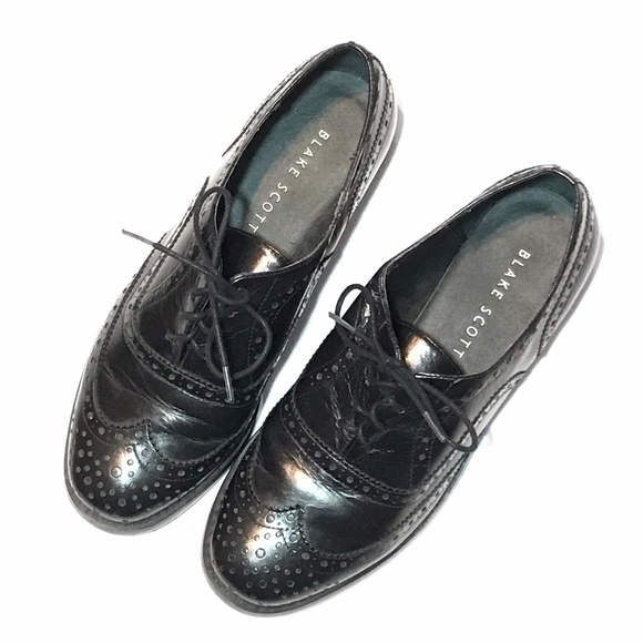 Black Shiny Leather Wingtip Oxford Dress Shoes EUC